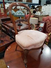 Sale 8693 - Lot 1078 - Victorian Probably Walnut Balloon Back Chair, with pink velvet seat (stained) & cabriole legs