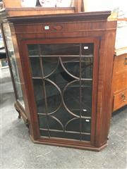 Sale 8740 - Lot 1666 - A Late Georgian Mahogany Hanging Corner Cabinet, with shell inlay to frieze & astragal door