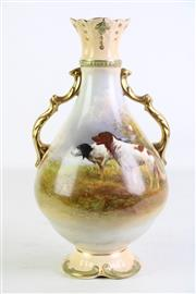 Sale 8935 - Lot 70 - An Antique Crown Devon Twin Gilt Handle Vase with Hunting Dog Motif Signed R Hinton (H 26cm)