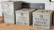 Sale 8984H - Lot 387 - One large, two small NSW galvanised ballot boxes, 39 height x 27 width and 32 depth.