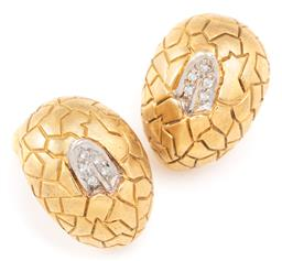 Sale 9128J - Lot 37 - A PAIR OF 18CT GOLD MONTBLANC UGLY DUCKLING DIAMOND EARRINGS; each 17 x 12mm egg form with white gold beaks poking through set with...