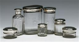 Sale 9138 - Lot 148 - A Selection Of Hallmarked Sterling Silver Lidded Scent Bottles (7) (H: Of tallest 9cm)