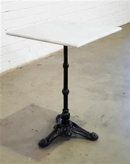 Sale 9157 - Lot 1017 - Square marble top table on metal base (h74 x d50cm)