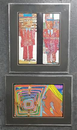 Sale 9155 - Lot 2034 - Pair of Prints by Hundertwasser Expressionist Figures and Abstract 42 x 37 cm -