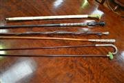 Sale 8093 - Lot 1714 - Collection of 6 Antique Walking Sticks inc Silver Topped Shillelagh, Chinese Bone and Others