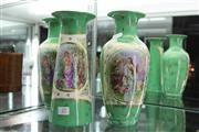 Sale 8296 - Lot 27 - Royal Vienna Set of Three Green & Gilt Vases
