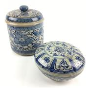 Sale 8545N - Lot 148 - Two Chinese Blue & White Lidded Earthenware Containers (H:20cm)