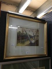 Sale 8695 - Lot 2034 - Keith Sanger - River Bend, watercolour, 33.5 x 38.5cm (frame size), signed lower right