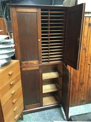 Sale 8859 - Lot 1092 - Timber Four Door Pigeon Hole Unit with Bookcase Base