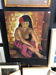 Sale 8903 - Lot 2078 - J A Cooper Woman with Red Hibiscus acrylic, signed