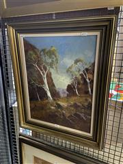 Sale 8906 - Lot 2011 - Wykeham Perry - Ghost Gums, Heavitree Gap, Alice Springs oil on canvas on board, 58 x 48cm, signed -