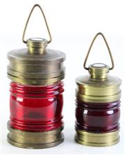 Sale 8985 - Lot 69 - A pair of Flotta Lauro brass canisters with compass finials H:11cm & 8cm