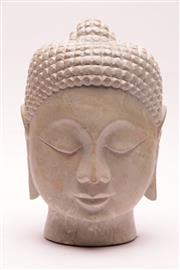Sale 9023 - Lot 32 - A Carved Marble Buddha Head (small chip to base) (H: 29cm)