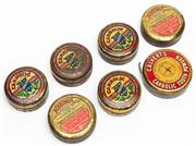 Sale 9054E - Lot 90 - A small group of vintage Carbolic tooth powder and other cylindrical tins.