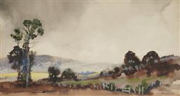 Sale 9170 - Lot 542 - BLAMIRE YOUNG (1862 - 1935) Country Landscape watercolour (AF) 25 x 47.5 cm (frame: 55 x 73 x 2 cm) signed lower right