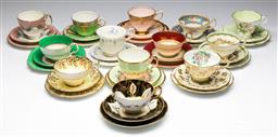 Sale 9173 - Lot 3 - A collection of thirteen trios inc Aynsley, Royal Albert, Royal Stuart, Paragon and others