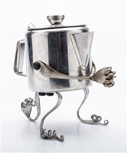 Sale 9190 - Lot 16 - An Anthropomorphic teapot with bent fork limbs (H:20cm)