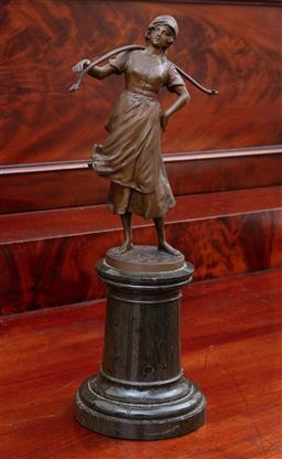 Sale 9190H - Lot 211 - After P.L. Kovalezenski bronze figure of a maid, missing buckets, raised on marble base, Height 30.5cm