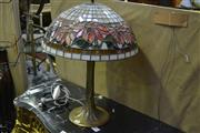 Sale 8031 - Lot 1063 - Brass Tree Base Table Lamp w Leadlight Shade