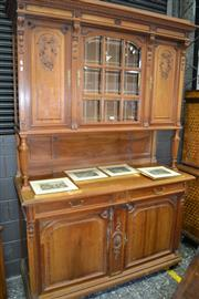 Sale 8093 - Lot 1723 - Late Victorian Walnut Sideboard with Elevated Cabinet Section (key in office)