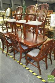 Sale 8227 - Lot 1059 - Regency Style 10-Piece Dining Suite incl. Table and 9 Chairs