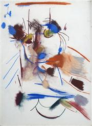 Sale 8410A - Lot 5055 - Anne Hall (1945 - ) - Untitled (Abstract Figure with Blue) 76.5 x 56cm (sheet size)