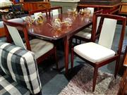 Sale 8782 - Lot 1019 - Teak 7 Piece Dining Suite inc Table and 6 Leather Upholstered Chairs