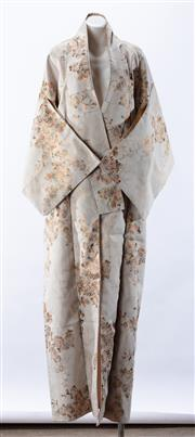 Sale 8910F - Lot 45 - A vintage kimono with metalic thread embroidery of chrysanthemum.
