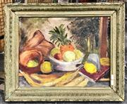 Sale 8941 - Lot 2089 - Artist Unknown Still Life with Pineappleoil on canvas (AF- losses) , 50 x 60cm, unsigned
