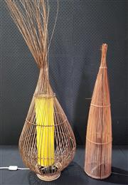 Sale 8971 - Lot 1054 - Two Wicker Lamps (Tallest - H:130 x D:37cm))