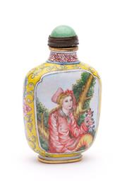 Sale 9032C - Lot 783 - Enamelled Chinese Snuff Bottle With Greenstone Stopper And Decorated With European Women H:8cm