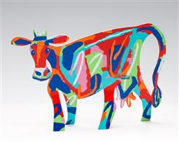 Sale 9253 - Lot 106 - A David Gerstein Design double sided polychrome metal standing cow (H:20cm W:18.5cm)