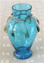 Sale 8250 - Lot 37 - An Art Nouveau Glass Vase, modelled with applied loop handles and a tapered body, h