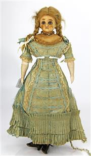 Sale 8330T - Lot 94 - Early Victorian Wax Doll; All original with sleepy glass eyes, mohair wig, bisque arms, dress and leather boots, 15.