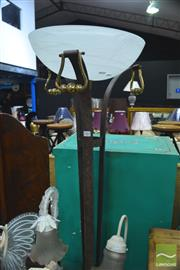 Sale 8328 - Lot 1061 - Metal Standard Lamp With Glass Bowl Shade
