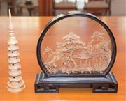 Sale 8368A - Lot 73 - A Chinese hand carved cork diorama of a pagoda, storks and trees, together with a leaning pagoda, H 33cm