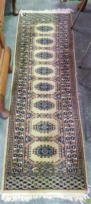 Sale 8566 - Lot 1302 - Green Tone Hall Runner with Central Rowed Medallions ( 60 x 190)