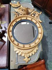Sale 8714 - Lot 1078 - Regency Style Carved & Gilt Circular Mirror, surmounted by an eagle (some faults)