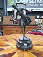 Sale 8848 - Lot 1013 - Bronze Ballerina Figure in Pose, after Emil Soldi Colbert, on marble plinth base