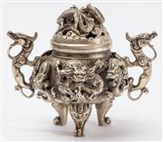 Sale 9083N - Lot 45 - A silvered metal tripod censer with dragon handles. Height 15cm. Character marks to base.