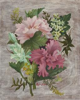 Sale 9096 - Lot 501 - William Fletcher (1924- 1983) Hibiscus & Native Flowers oil on board 27.5 x 22.5 cm (frame: 46 x 41 x 4 cm) signed lower centre