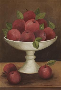 Sale 9170 - Lot 550 - FRANCES JONES (1923 - 1999) Still Life with Apples oil on board 34 x 24 cm (frame: 42 x 32 x 4 cm) signed lower right