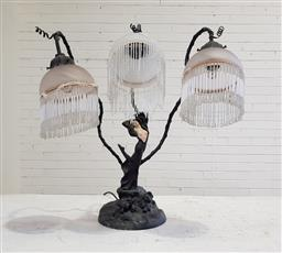Sale 9166 - Lot 1003 - Figural table lamp with three glass beaded shades (h60cm)