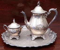 Sale 9190H - Lot 224 - A group of three Viners plated wares including tray, Diameter 35cm, coffee pot, Height 25cm, and sugar