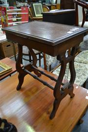 Sale 8013 - Lot 1225 - Timber Side Table With Lyre Shaped Supports
