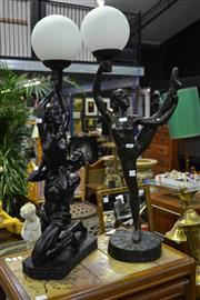 Sale 8039 - Lot 1041 - 2 Figural Table Lamps w Ball Shades