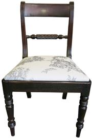Sale 8258A - Lot 59 - Set of six ropeback George IV mahogany dining chairs refurbished with grey toile drop in seats, RRP $550 each $3300 set