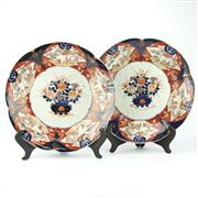 Sale 8304A - Lot 5 - Japanese Pair of Imari Floral & Stork Themed Chargers (1 AF) -