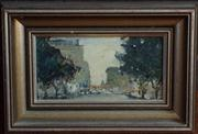 Sale 8379A - Lot 72 - Barry Chamberlain - Hyde Park landscape 10.5 x 20.5cm