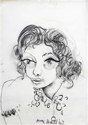 Sale 8410A - Lot 5056 - Anne Hall (1945 - ) - Untitled, 1967 (Portrait of a Woman) 76.5 x 56cm (sheet size)